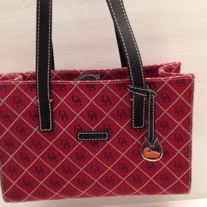 Dooney and Bourke signature D & B red tote bag